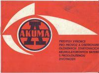 Akuma předpisy výrobce pro provoz a ošetřování olověných startovacíh akumulátorových baterií