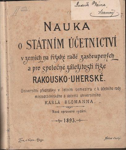 Nauka o státním účetnictví v zemích na říšské radě zastoupených a pro společné záležitosti říše Rako