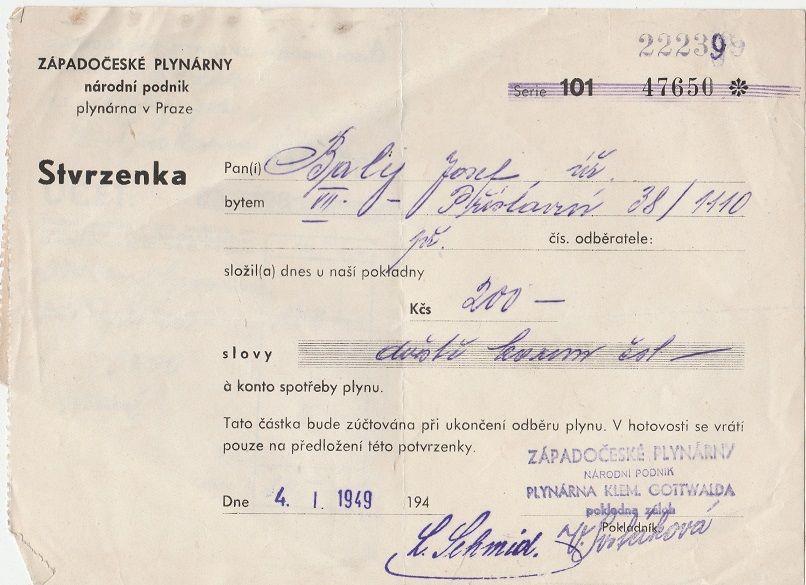 Stvrzenka Západočeské plynárny 1949