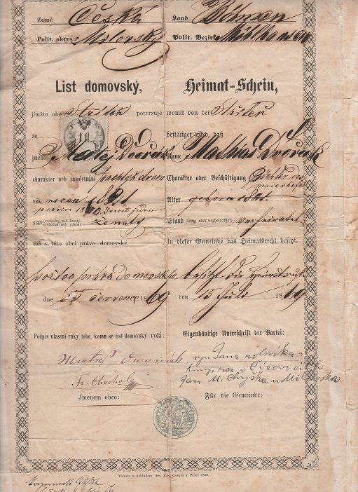 List domovský Střítež? 1869