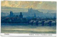 Praha Hradčany. Pohled z Františkova nábřeží